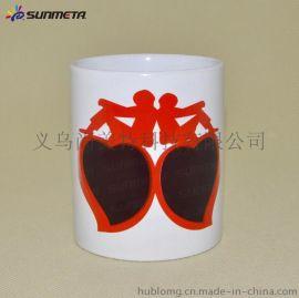 红边双桃心变色杯 双桃心情侣变色杯批发 热转印涂层马克杯定制