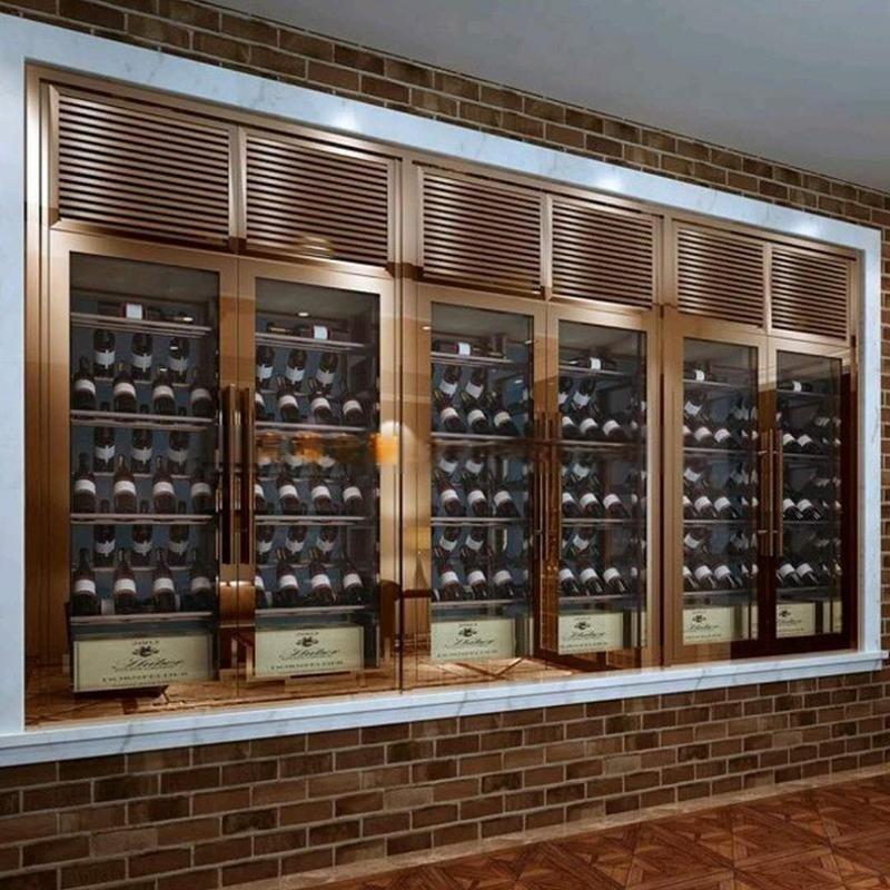 佛山梦奇源 镜面香槟金不锈钢酒柜 拉丝香槟金不锈钢酒架 可定制