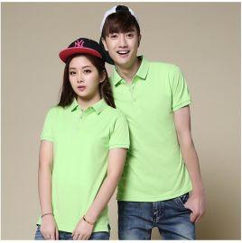 夏季韩版情侣装翻领短袖t恤 男女式休闲工作服POLO衫可印制LOGO
