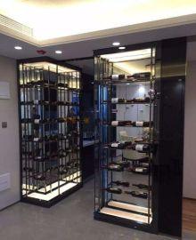 供應酒店定做咖啡色紅酒恆溫櫃 酒櫃展示架 不鏽鋼酒櫃定制