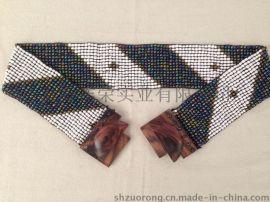 串珠腰带 米珠编织腰带 米珠松紧腰带 米珠弹力腰带 手工串珠腰链