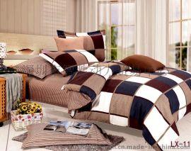 (智胜动力家纺)四件套一手货源-LX-11新款2015典雅温馨格子被套床罩枕套家纺组合套装