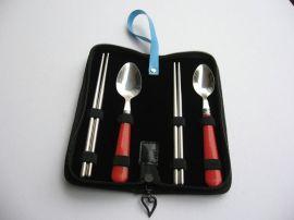 塑胶扁柄勺筷四件套 便携不锈钢餐具套餐 广告促销创意礼品