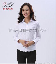 山东职业衬衫定做厂家青岛女士正装条纹衬衣工作服批发价格