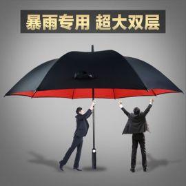 厂家定制直杆双层黑+红防风暴全纤维男士商务高尔夫伞