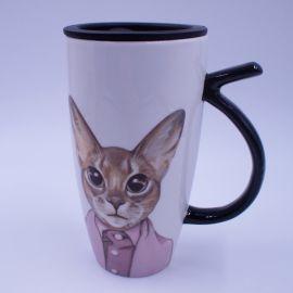 绅士猫创意卡通陶瓷杯 个性定制 喵星人文艺马克杯