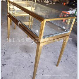 玫瑰金不锈钢珠宝展示柜 不锈钢展示架厂家  来图定做