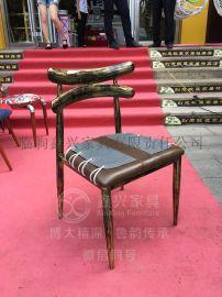 复古做旧实木餐椅美式休闲椅