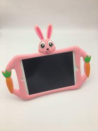 ipad mini硅胶保护套,儿童平板卡通硅胶套,卡通兔子造型带支架支撑