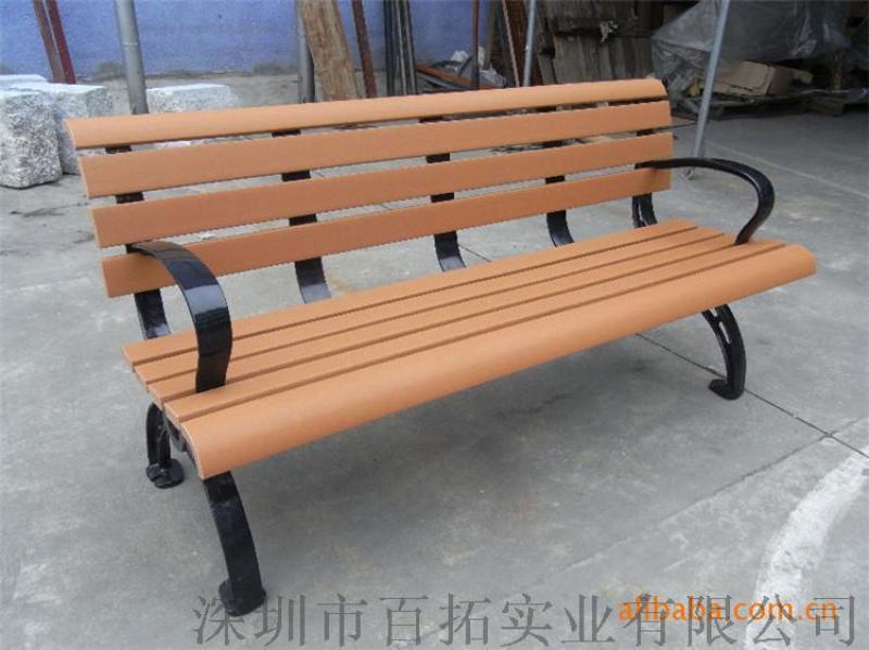 铸铁公园椅实木靠背长条椅园林广场休闲座椅路椅