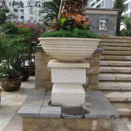 厂家定做石雕花盆  黄金麻花岗石花钵 庭院石材花盆