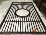 新中式整块铝板雕刻红古铜屏风,圆形铝艺雕花镂空隔断