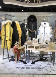 雪狐18年新款大毛領羽絨服走份品牌折扣女裝貨源