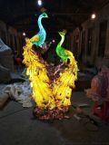 树脂仿真动物孔雀灯 恒逸孔雀灯 大型造型孔雀灯