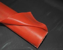 银灰色/红色硅胶玻纤布0.5MM ,高温防火硅胶复合材料
