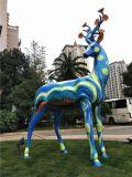 精工彩绘玻璃钢图案麋鹿雕塑 景区景观动物制作
