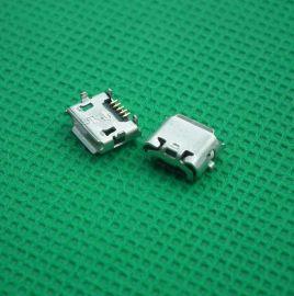 反向MICRO 5PIN四脚插座牛脚型5.85插脚7.2母座贴片卷边USB连接器