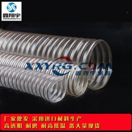pu钢丝软管/耐磨工业除尘吸尘通风管/钻孔机印刷机扫地车风管