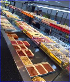 自选火锅店菜品展示柜,不锈钢喷雾菜品保鲜柜