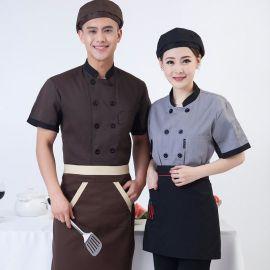 酒店餐厅饭店厨师工作服定做短袖夏季透气西餐厅厨房厨师服加LOGO