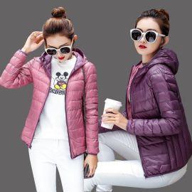 秋冬装女式轻薄短款羽绒服两面穿外套