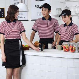 服務員工作服快餐店短袖T恤 西式咖啡廳燒烤店服裝