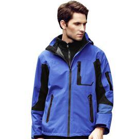 高端戶外運動衝鋒衣加絨內膽男式三層兩件套防風防水定做繡標批發