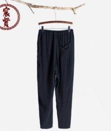 唐裝新款九分褲子中國風亞麻休閒褲簡約男褲