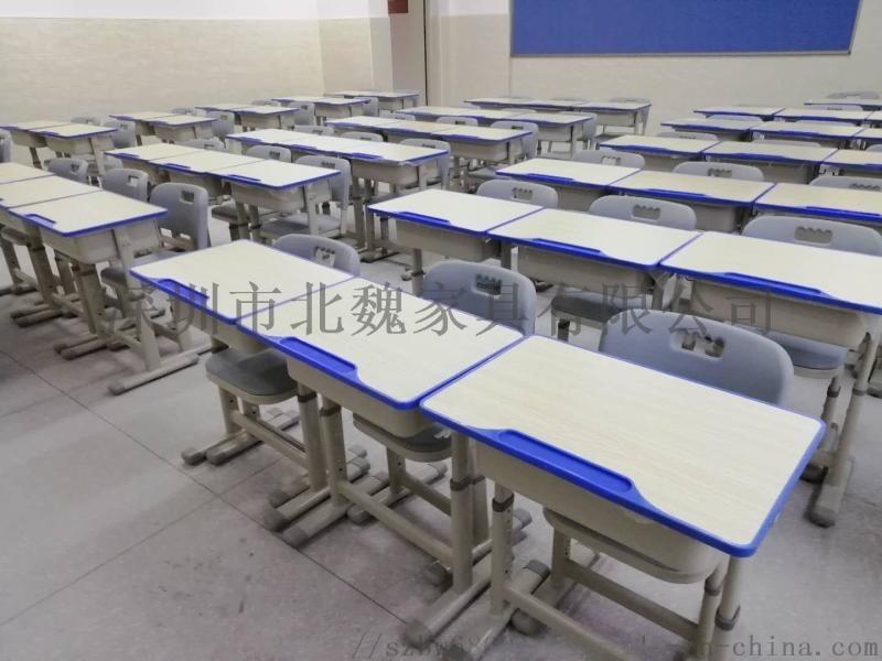广东厂家直销单人升降塑钢课桌椅(中小学生/高中生)