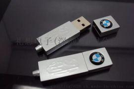 金属宝马车标USB 车载MP3直插帽盖U盘 金属钥匙扣挂扣优盘