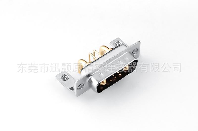 混装D型大电流连接器D-sub 7W2公弯插板带支架,90度插板类