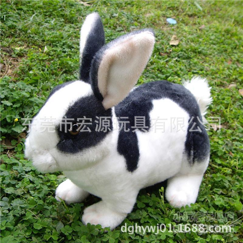 宏源玩具东莞厂家来图来样定制加工生产毛绒兔 订制仿真兔 吉祥兔