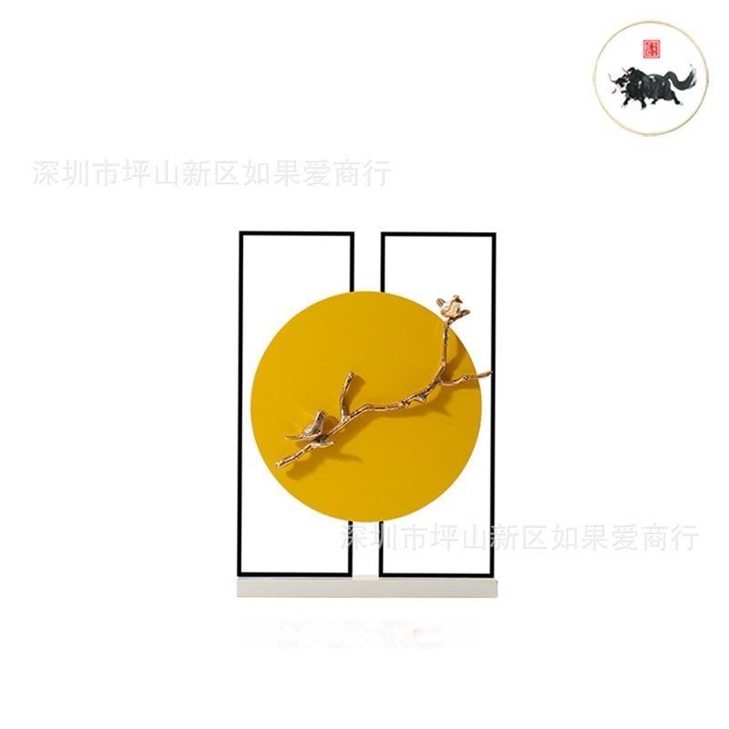 中国风圆形金色大理石金属样板间客厅书房别墅软装饰品中式摆件