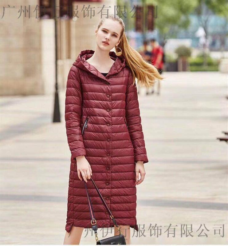 廣州花雨傘羽絨服時尚長款品牌折扣貨源批發