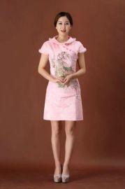 中国风冬季旗袍夹棉礼服