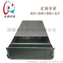 全铝工控机箱19寸**拉丝铝面板4U工控服务器机箱
