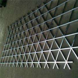 木纹铝格栅 **三角形木纹铝格栅天花吊顶材料
