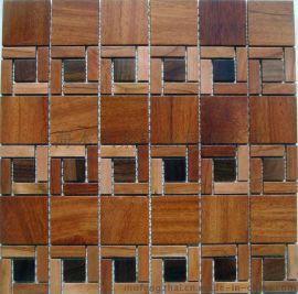 木风寨实木马赛克MFZ-A016背景墙 红檀香/黑胡桃 墙贴
