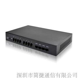 深简捷8口语音网关IAD-8s, 8路FXS, SIP协议voip网络电话, 铁盒机箱防干扰音质好