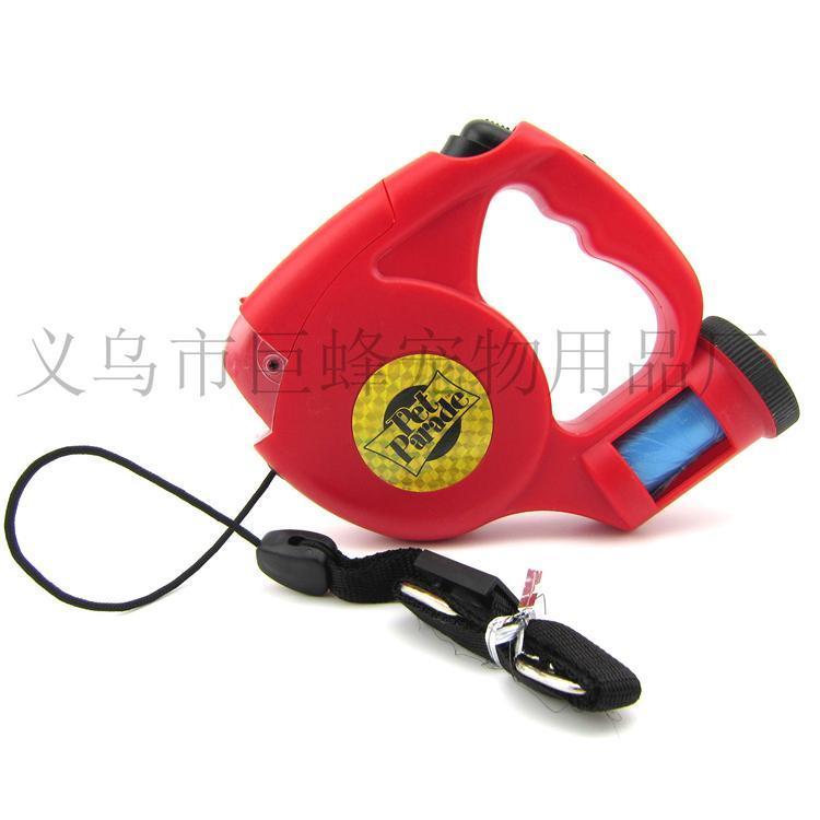 带LED/垃圾袋宠物牵引器 自动伸缩狗绳 遛狗器JF-QM552