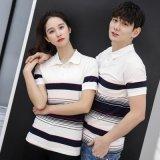 夏裝新款時尚韓版情侶男女同款條紋顯瘦翻領短袖T恤衫定製LOGO