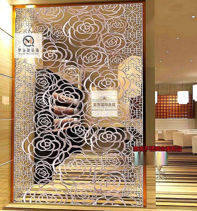 佛山专业加工定制屏风 玫瑰金拉丝不锈钢屏风 镂空不锈钢屏风隔断