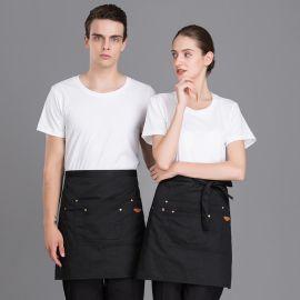 帆布围裙定做LOGO奶茶咖啡火锅店餐厅韩版时尚服务员工衣半身围腰