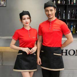 夏季立领短袖工作服t恤餐厅酒吧 酒店服务员工装定制