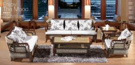 藤格格 8002 厂家批发真藤沙发客厅藤椅家具 海草藤艺休闲单人双人三人茶几组合五件套