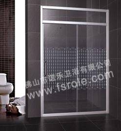 佛山淋浴房厂家批发**铝型材两固两移丝印浴室活动隔断R042
