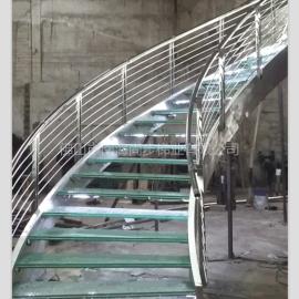 尚步楼梯玻璃踏板+LED灯别墅楼梯