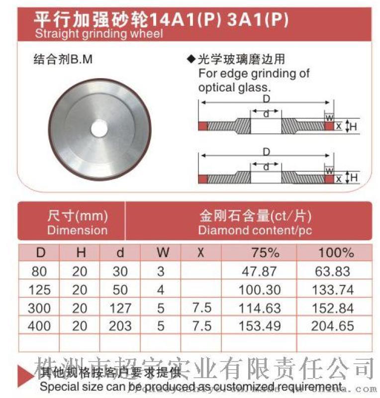 厂家直销 金刚石树脂平行加强砂轮 光学玻璃磨边