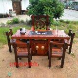 老船木茶桌功夫茶几老船木龍骨茶桌椅組合流水茶臺