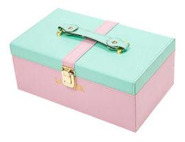 **化妆品双色皮拼色包装皮盒,礼品包装盒价格